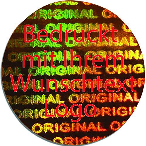 EtikettenWorld BV, EW-H-2800-GO-tr-700, 700 Stück Hologrammaufkleber, 2D, 15x15mm Goldfarbige Metallfolie, bedruckt in rot mit Ihrem Wunschtext Logo, Hologramm Etiketten, selbstklebend, Hologramm Aufkleber, Sicherheitssiegel, Garantiesiegel, Garantie