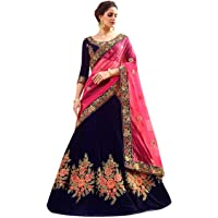 Womens Clothy Womens Silk Embroidered Semi stitched Lehenga choli with dupatta Set (Free size_Blue Flower)