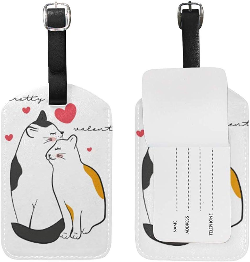 White Love Cat Kitty Heart Equipaje de Cuero Equipaje Maleta Etiqueta de identificación Etiqueta para Viajes (2 Piezas)