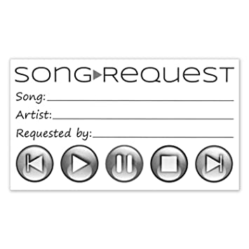 Song Request Cards For Wedding DJ Prom Party