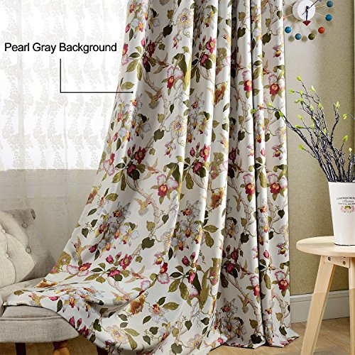 Flower Curtains Blackout Bedroom Drapes - Anady 2 Panel Bird
