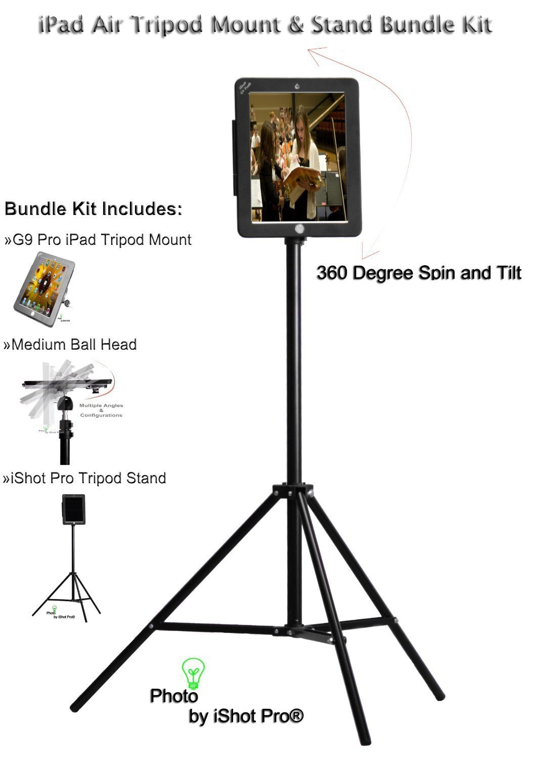 G9 Pro® New iPad Air 1 Tripod Mount Metal Case and Stand Bundle Kit by iShot Pro® Mounts USA - Adapter - Holder - Bracket - iPad Air 1 Case - High Quality **All Metal** Custom iPad Air 1 Frame - Bundle Kit Includes: Tripod Stand with Carry Bag, Medium S by iShot Pro