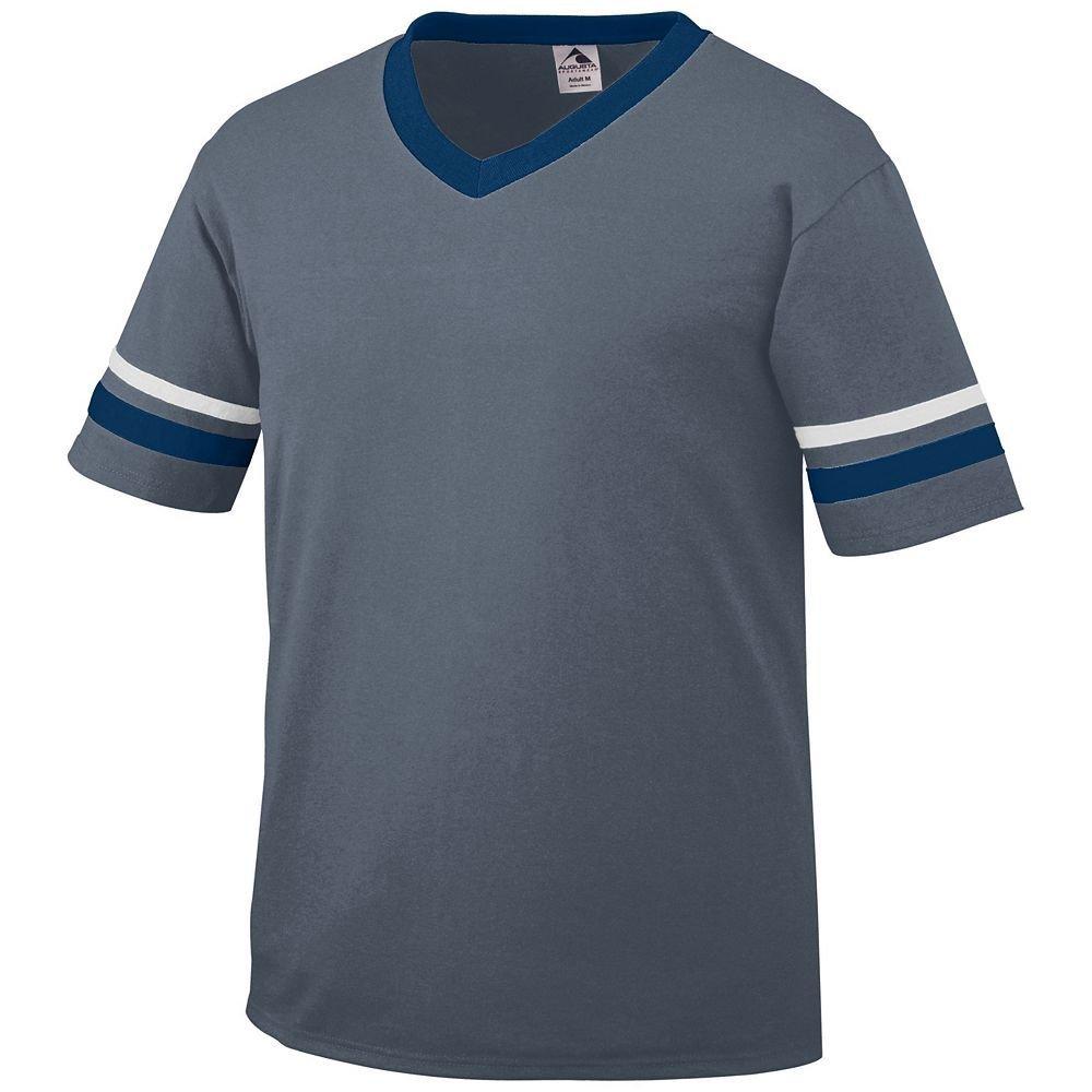 Augusta Sportswear Sleeve Stripe Jersey – Boys ' B00ID7J0I0 L|Graphite/Navy/White Graphite/Navy/White L