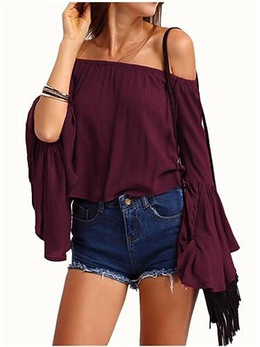 YOGLY Camisetas Mujeres Blusa Camisa Manga Largas Camiseta Hombro Descubierto Camiseta Top Camisa de...