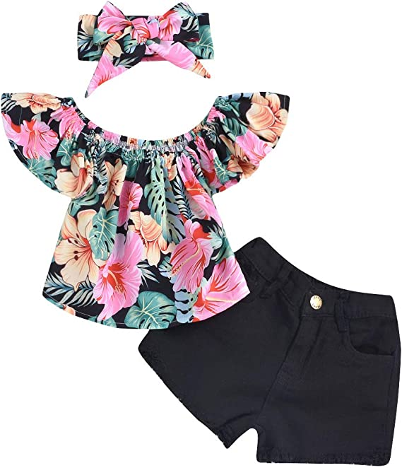 Jeans Shorts Miwear Toddler Girls Floral Off Shoulder Top Headband Outfits
