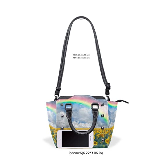 Amazon.com: LORVIES Women Landscape With Sunflowers Rainbow PU Leather Shoulder Bags Top-Handle Handbag Tote Crossbody Bag: Shoes