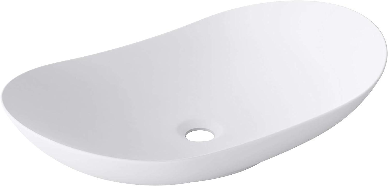 doporro: Lavabo sobre encimera blanco mate de cerámica diseño Brüssel858, 63 cm de Ancho | incluido Nano-sellado