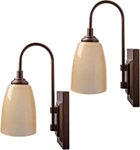 Westek Battery Operated Wall Sconces – 2 Pack, Bronze Finish – Easy Wireless Installation, 4 Hour Auto Shut-Off – 2 Brightness Levels, Full and Dim – 100 Lumen Battery Operated Wall Light