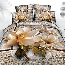 Alicemall 3D Flower Bedding Sets 100% Cotton Magnolia Paisley Flower 3D Duvet Cover Sets, Floral California King Bedding Sets, 4 Pieces , No Comforter (Cal King)
