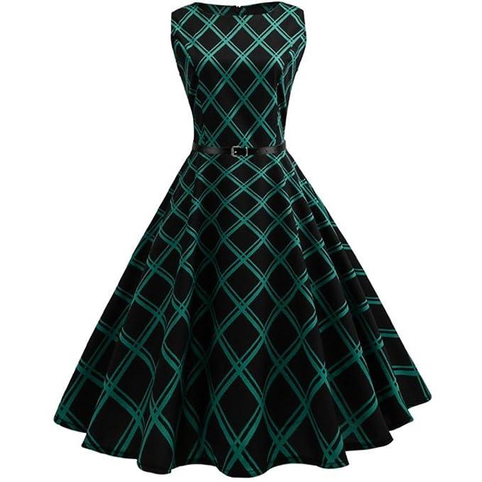 Amazon.com: Hot Sale! Napoo Women Vintage Floral Plaid Bodycon ...