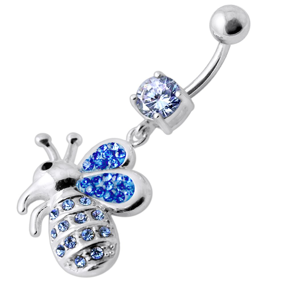 Lavender CZ Stone with Multi Crystal Stone Honey Bee 925 Sterling Silver Belly Button Ring Jewelry