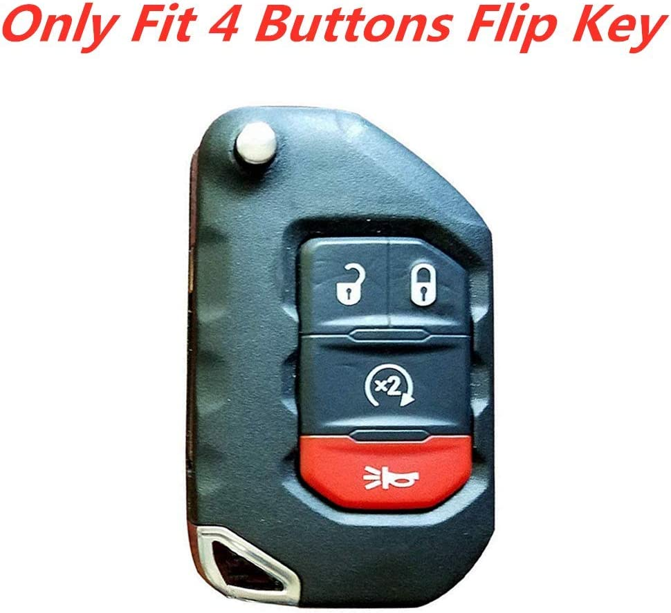 3Pcs MJKEY Black Red Blue Silicone Remote Smart 4 Buttons Key Fob Case Covers Skin Jacket Protector Bag Holder for Jeep Wrangler JL JLU Rubicon Gladiator JT