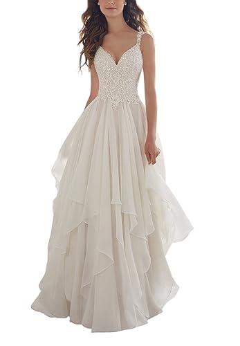 Holygift Women's A-Line V-Neck Strap Tulle Appliques Princess Spring Chiffon Beach Wedding Dress Whi...