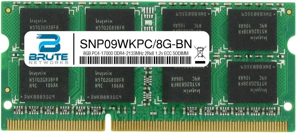 Brute Networks SNP09WKPC//8G-BN Equivalent to OEM PN # SNP09WKPC//8G 8GB PC4-17000 DDR4-2133MHz 2Rx8 1.2v ECC SODIMM