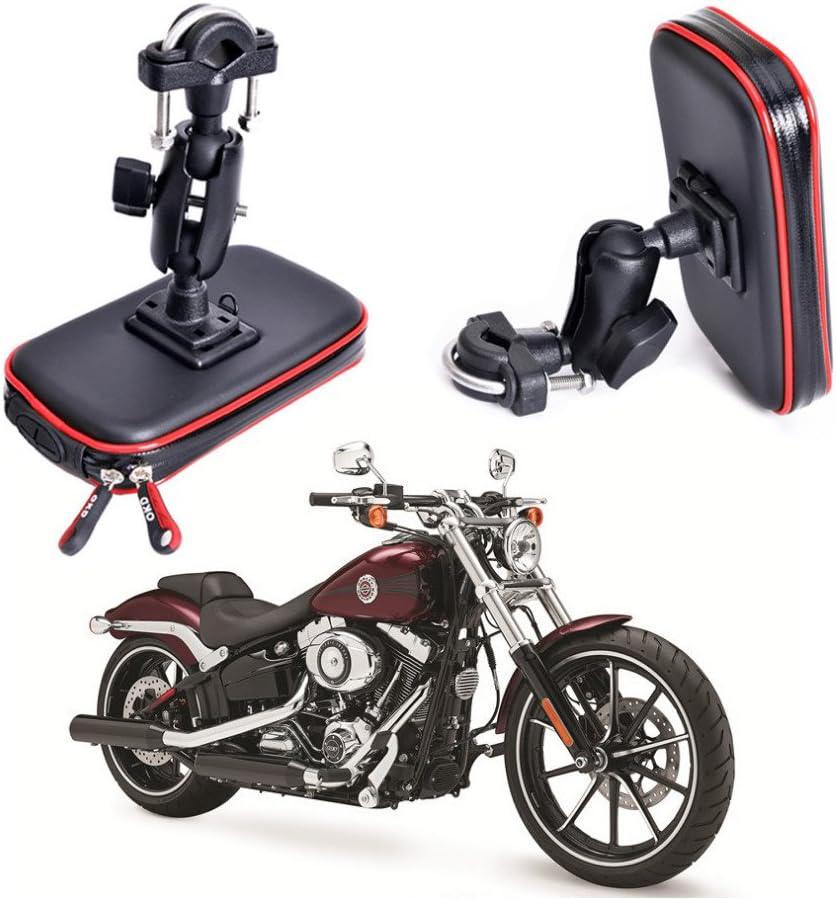 Cheeroyal Soporte de teléfono Motocicleta, Resistente al Agua, Soporte Universal para teléfono móvil, GPS o Manillar de Motocicleta