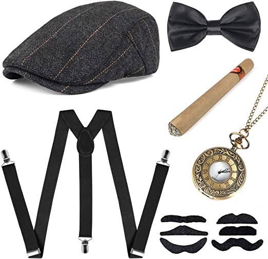 1920s Men Accessories Gatsby Gangster Costume Accessories Set Newsboy Flat Hat Y