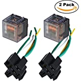Ehdis [2 Set] Car Truck Motor Relay Socket with Connector Heavy Duty 12V 100A SPDT Waterproof Seal Transparent Case 5 Pin 5 Wire JD2914
