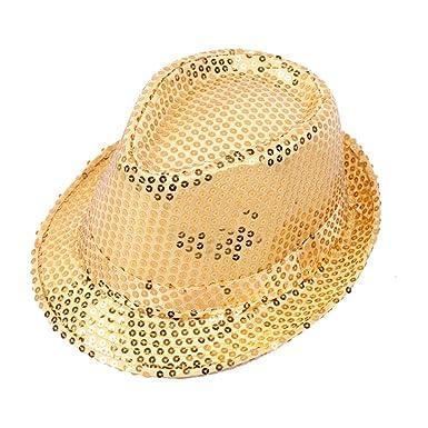 Wicemoon Oro Gorra de Baile de Sombrero de Lentejuelas de Sombrero ...
