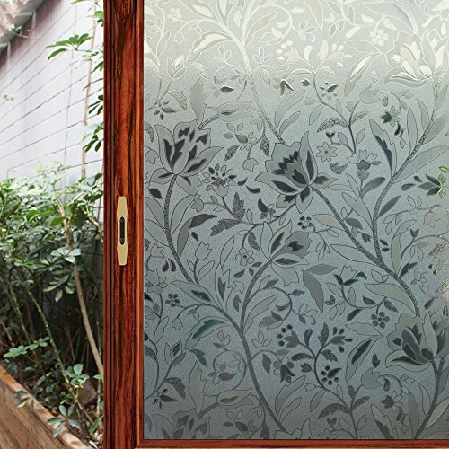 Viclover Premium Decorative No-Glue 3D Static Privacy Window Film Sliding Glass Door Window Cling For Bathroom Bedroom Home And Office (17.71 inches by 78.74 inches)