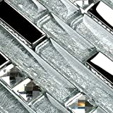 Hominter 6-Sheets Silver and Clear Backsplash Tiles, Glossy Coated Glass Tile for Kitchen, Crystal Rhinestone Mosaic Accent Tile Wall in Bathroom YG001