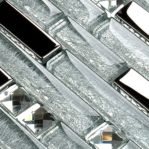 Diamond Mosaic Tile (Hominter 11-Sheets Silver Coated Glass Tile Rhinestone Mosaic, Clear Crystal Backsplash Wall Tiles, Random Interlocking Patterns for Bathroom and Kitchen YG001)