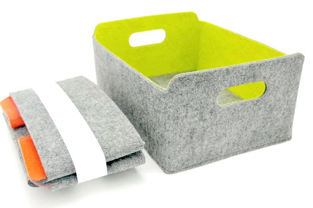 Welaxy Collapsible foldable Felt Storage bin organizer baskets Kids Toy Clothing Magazine Newspaper (green)