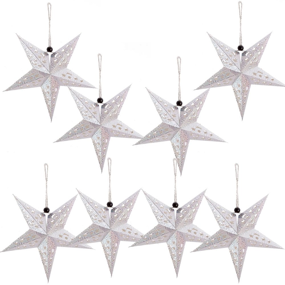 Paper Star Lantern Lampshade Hanging Christmas Xmas Day Decoration For LED Light Wedding Birthday Party Home Decor 8 Pcs 28cm Hollow Out Design (Lights not included) (Silver)