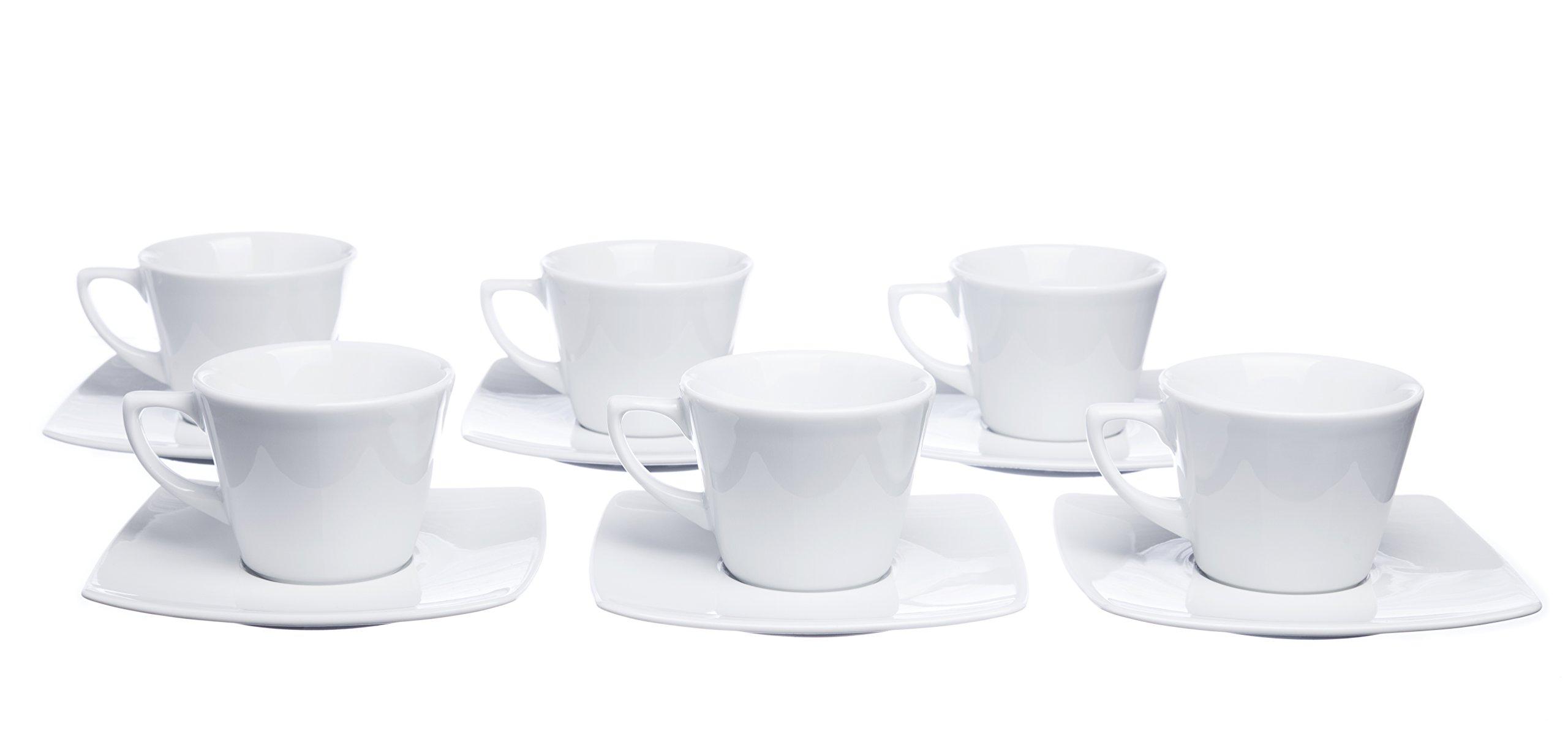 MOKKO 12-Piece Coffee/Espresso 2.5 oz. CUPS Set with Square Saucers (Set of 6), White Porcelain, Restaurant&Hotel Quality