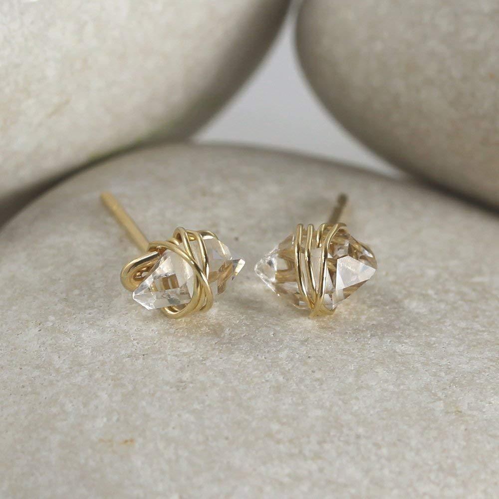 Herkimer Diamond Gold Wrapped Stud Earrings
