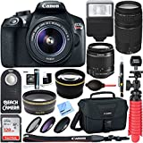 Canon T6 EOS Rebel DSLR Camera w/ EF-S 18-55mm IS II & 75-300mm III Lens Kit + Accessory Bundle 128GB SDXC Memory + SLR Photo Bag + Wide Angle Lens + 2x Telephoto Lens + Flash + Remote + Tripod & More