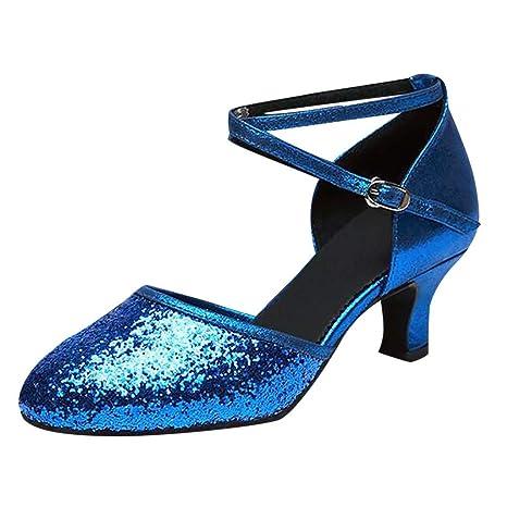 d5b885954a29 Amazon.com  Copercn Women s Ladies Fashion Shining Sequins Close Toe Cross  Ankle Buckle Straps Kitten Heel Pointed Sandals Graceful Dance Shoes Latin  Tango  ...