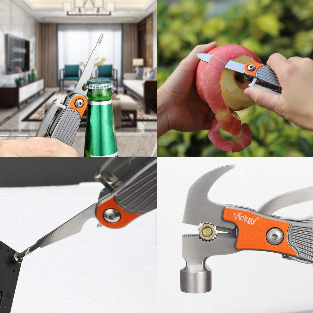 Emergency Hammer Pliers, 12 in 1 Multitool Stainless Steel Survival Kit Multifunction Car Tool With Hammer, Saw,Knife, Screwdriver for Outdoor Camping -Best Father's Day Gift(Orange)