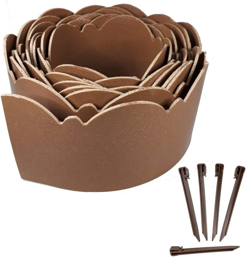 """One Stop Outdoor Brown - (20' Feet x 5"""" Inch) Premium Scallop Landscape & Garden Border Edging Kit - Terrace Board Yard Edging, Includes 5 Heavy Duty Hold Stakes (Brown)"""