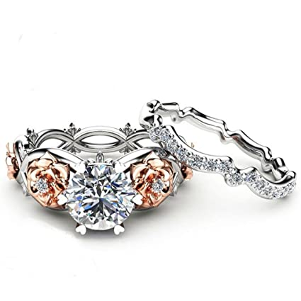 Review Womens rings,Lamolory Fashion Two Tone White Sapphire Wedding Engagement Floral Ring Set