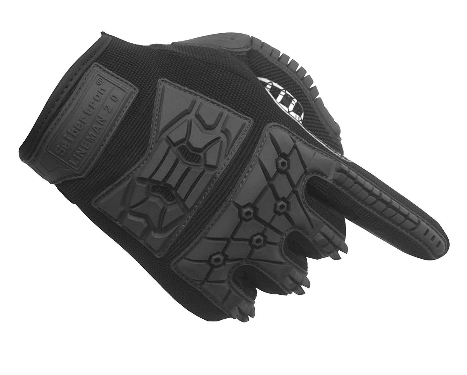 Seibertron Lineman 2.0 Padded Palm Football Receiver Gloves Flexible TPR Impact Protection Back of Hand Glove Adult Sizes