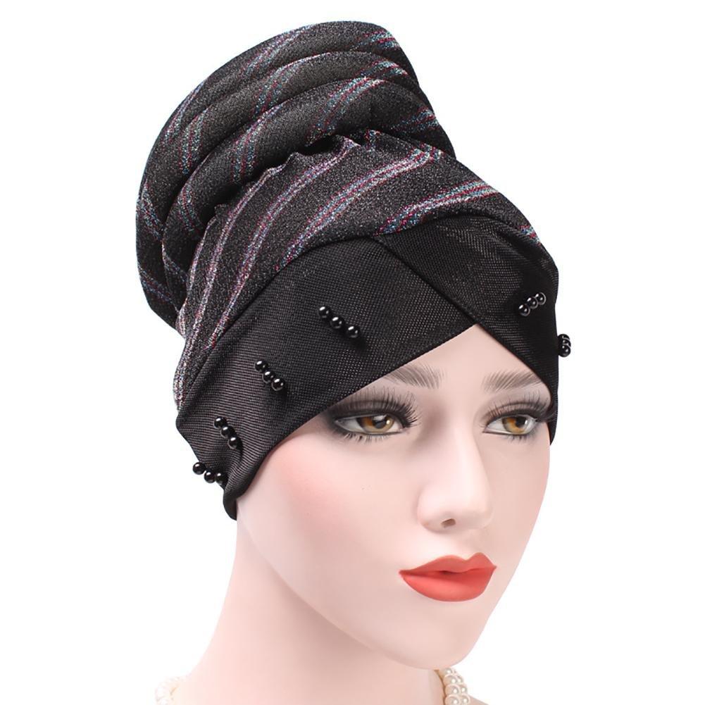 Morbido Elastico Musulmano Chemo cap Turbante Hijab Hat a Righe con Perline Rivetto per Le Donne