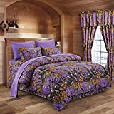 Purple Bedding and Curtain Sets Regal Comfort The Woods Purple Camouflage Queen 8pc Premium Luxury Comforter, Sheet, Pillowcases, and Bed Skirt Set Camo Bedding Set for Hunters Cabin or Rustic Lodge Teens Boys and Girls