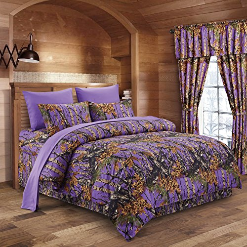 (The Woods Purple Camouflage King 8pc Premium Luxury Comforter, Sheet, Pillowcases, and Bed Skirt Set by Regal Comfort Camo Bedding Set For Hunters Cabin or Rustic Lodge Teens Boys and Girls)