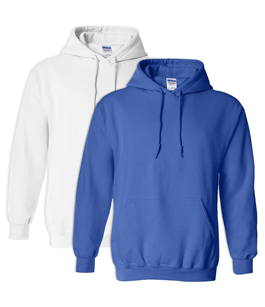1 Royal Gildan G18500 Heavy Blend Adult Unisex Hooded Sweatshirt 4XL 1 White