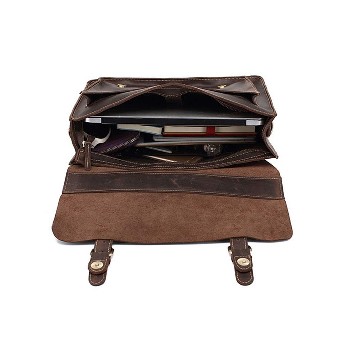 """Color : Dark Brown Carriemeow Brown Vintage Cowhide Messenger Bag 13/""""Laptop Briefcase Satchel Shoulder Handbag Bookbag w Detchable Strap"""