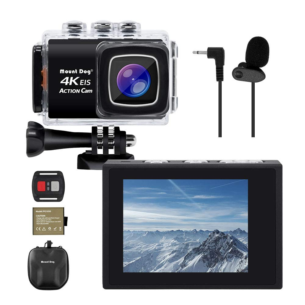 "【Upgrade】 MOUNTDOG Sports Action Camera 4K Underwater Waterproof 30M Camera with Wireless Wrist Remote Control/External Microphone/ 2"" LCD Screen/EIS/ 170° Wide Angle/Exclusive Portable Camera Case 61DZF0HdJ7L"