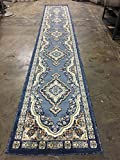 emirates Traditional Long Persian Runner Area Rug Light Blue Gray Beige Brown Design 520 (31 Inch X15 Feet 8 Inch) For Sale