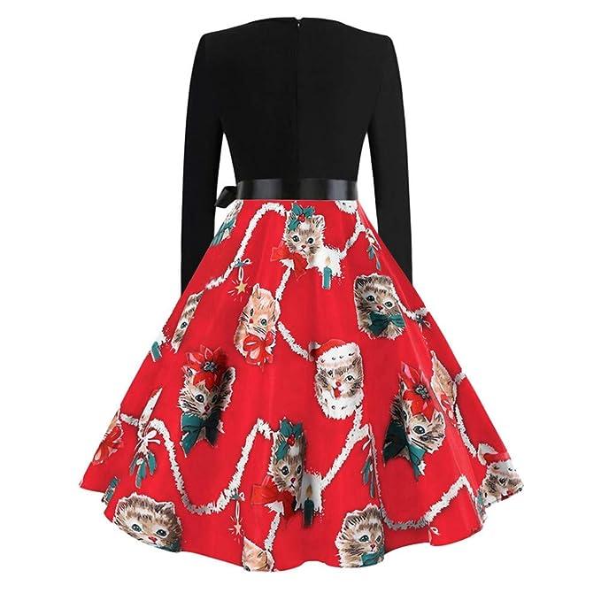 Yvelands Mujeres Gatos de Navidad Corbata de moño Imprimir Vestido de Manga Larga Vestido de Fiesta de época Tops Blusa: Amazon.es: Ropa y accesorios
