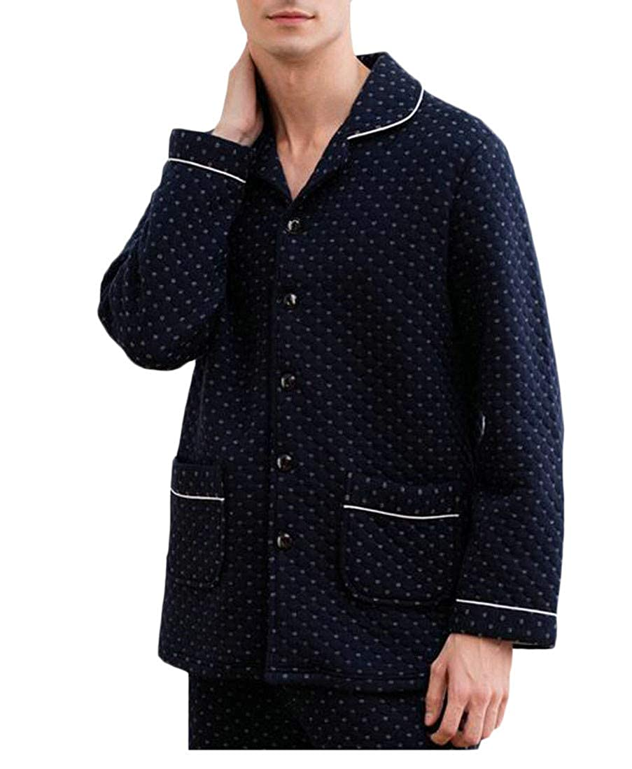 Cromoncent Mens Warm Set Slim Fit Winter Cotton Sleepwear Pajama Sets