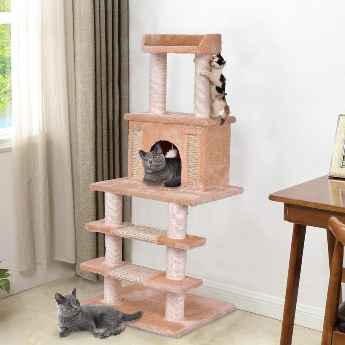 Tangkula Cat Tree with Scratching Post Rope Mouse Kitten Castle Pet Play House Kitte Tower Activity Tree 52