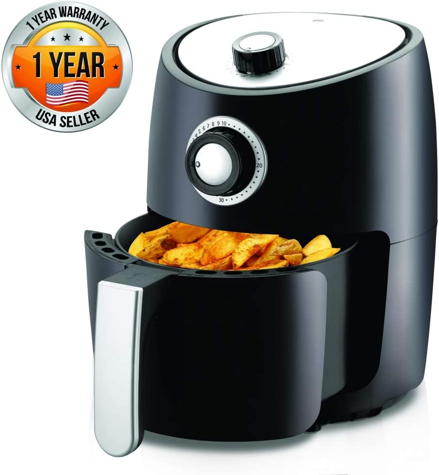 Nutrichef Air Fryer Oven 2 Quart – 1000w Power Oilless Dry Fryer Machine Large Capacity Family Size Air Fryer with Basket – Removable Deep Non-Stick Teflon Fry Basket, Roasting Plate PKAIRFR18