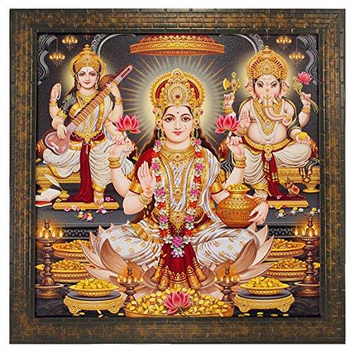 Indianara LAXMI Ganesh Saraswati Paintings 1399 Without Gl