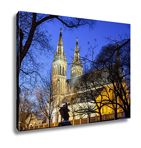 Ashley Canvas View Of The Roman Catholic Cathedral At Night Prague Vysehrad Wall Art Decor Stretched Gallery Wrap Giclee Print Ready to Hang Kitchen living room home office, 24x30 by Ashley Canvas
