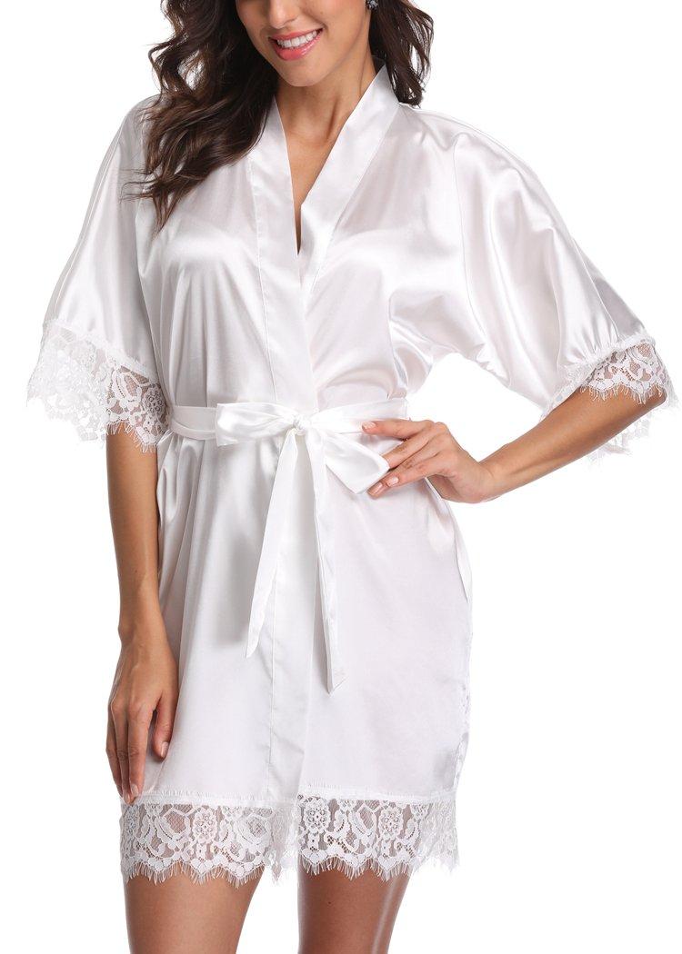Laurel Snow Short Satin Kimono Robes Women Pure Color Bridemaids Bath Robe With Lace Trim,White M