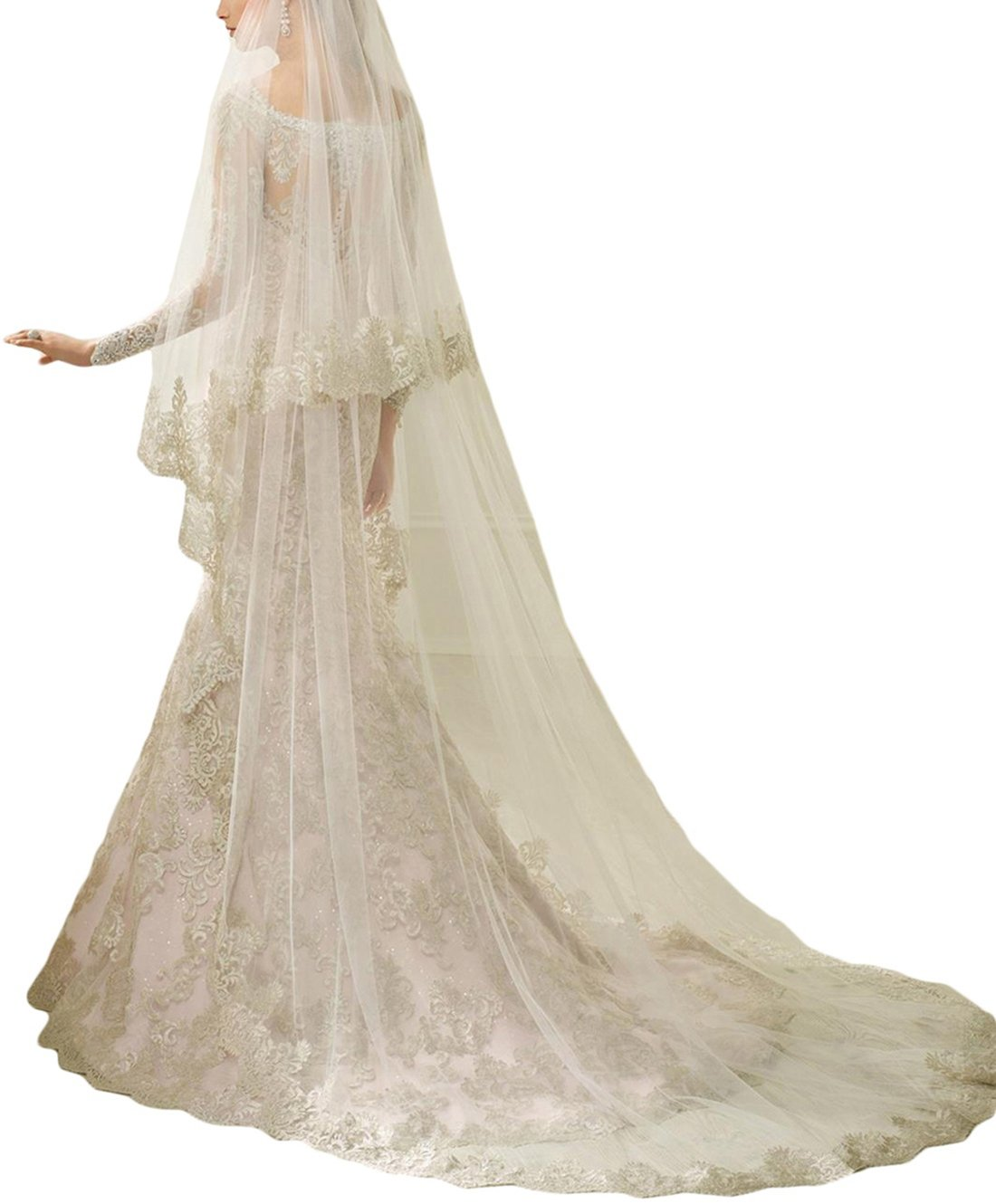 Newdeve Lace Wedding Veils Cathedral Length 2 Tiers Bridal Veil Long (Ivory)